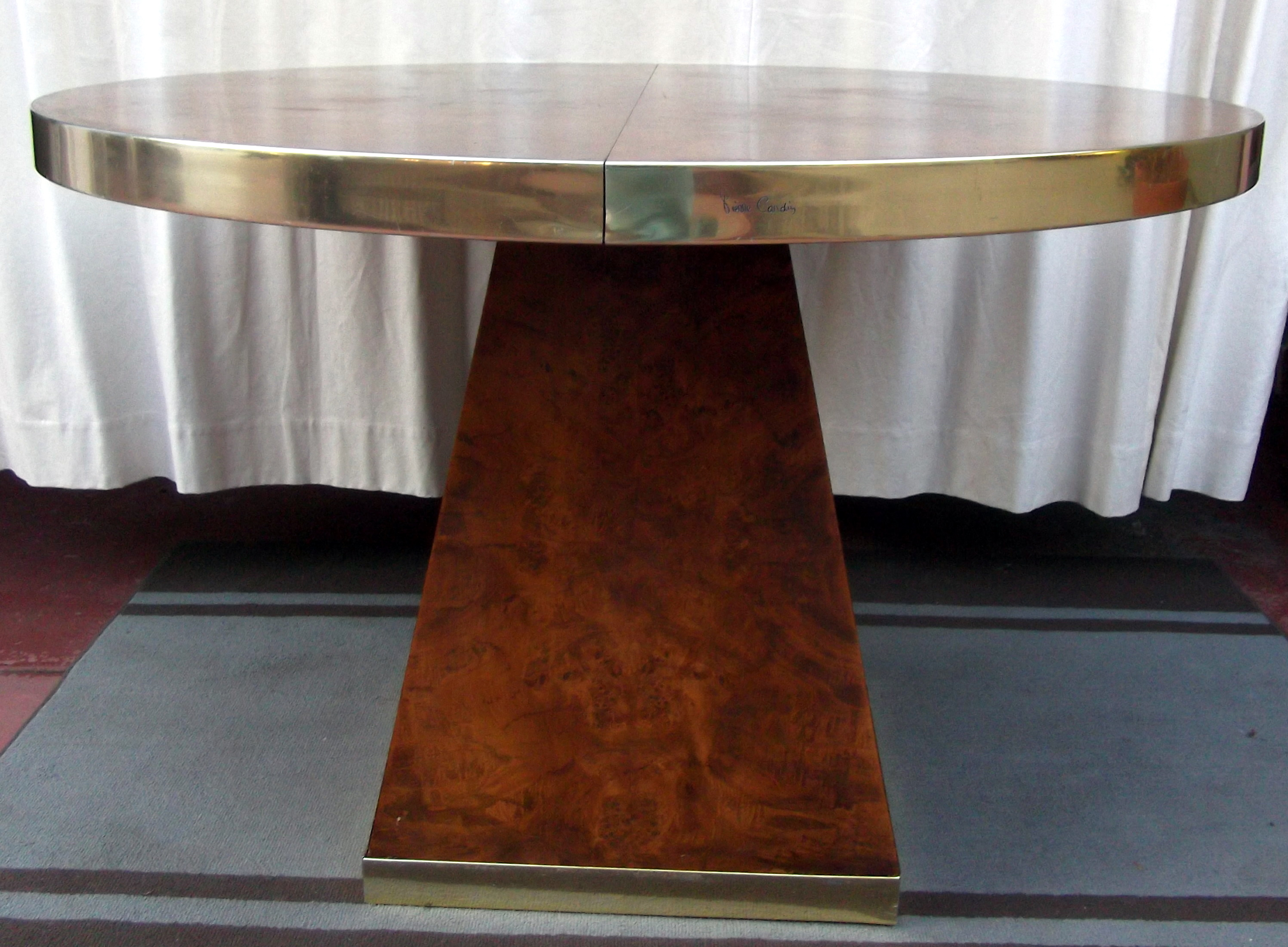 Signed Pierre Cardin Olive Ash Burl Wood and Brass Table 1970s