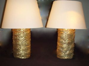 McGuire Furniture Robert Kuo 24k Gold over Repousse Cloud Lamps