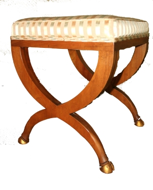 Baker Furniture Gilded Hooves Upholstered Stool Bench