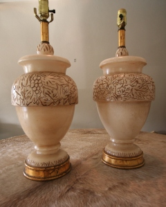 Italian Carved Alabaster Lamps