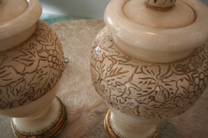 Detail of Italian Carved Alabaster Lamps