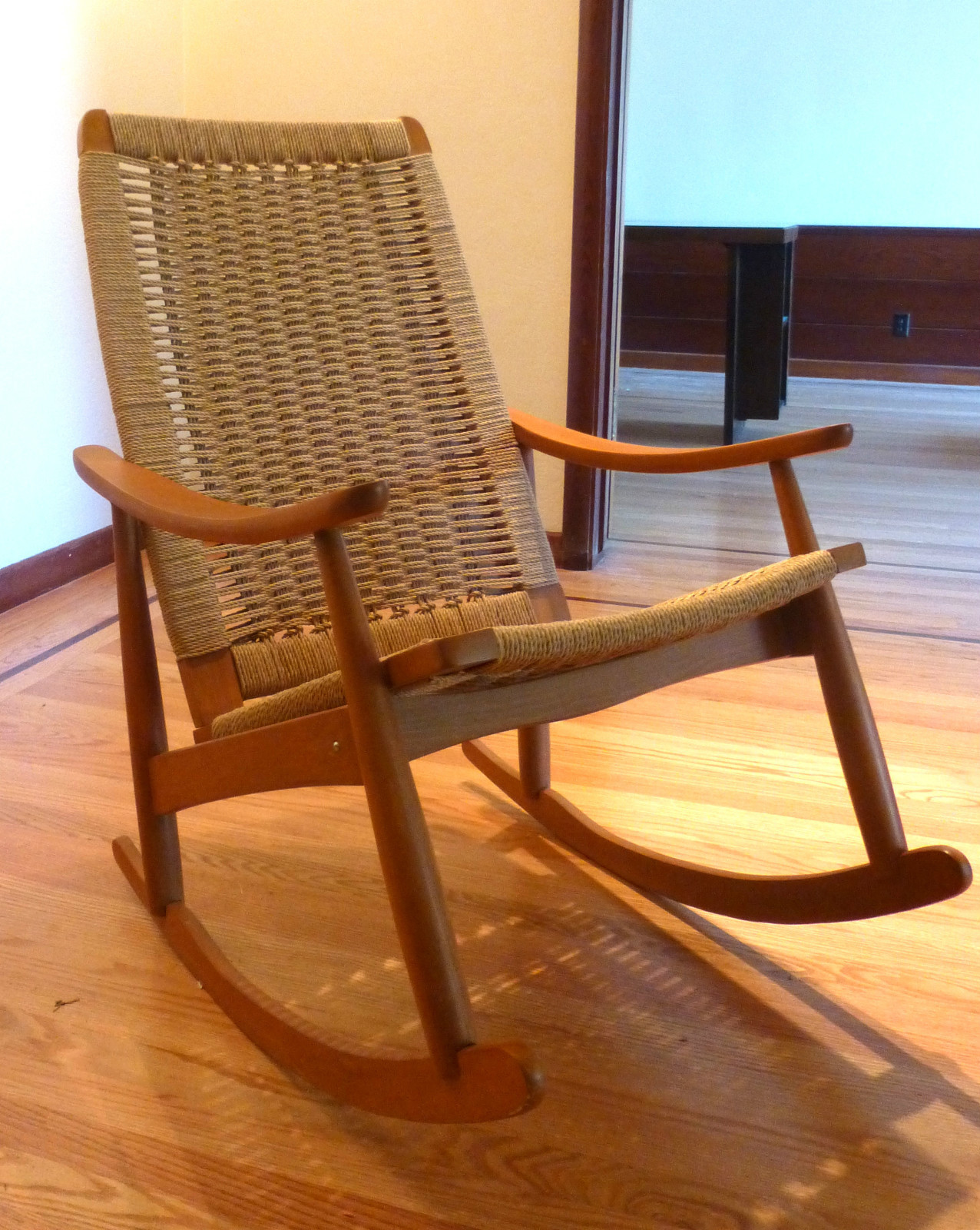 mid century danish modern woven rope rocking chair wegner style rocker